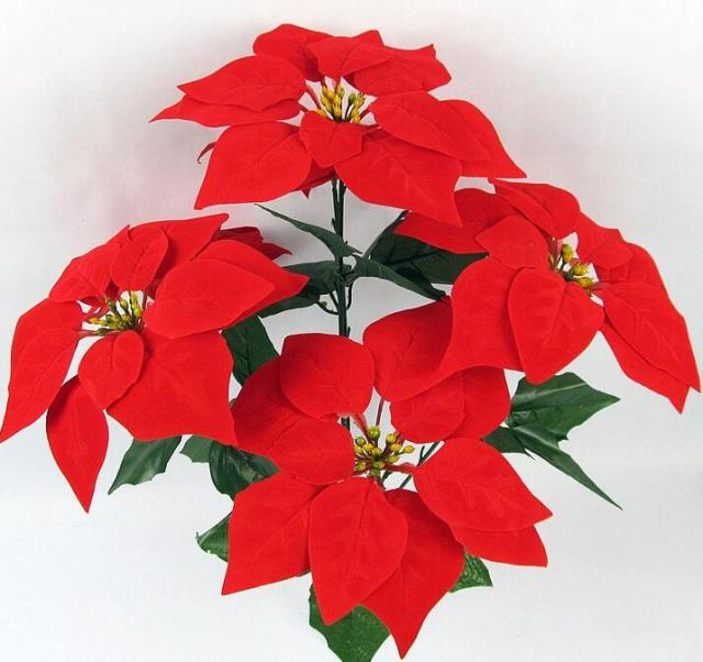 18p artificial christmas flower 5 heads poinsettia fake flowers redgoldsilver for home - Christmas Flower Decorations