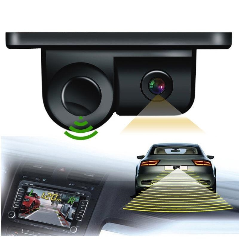 Car Parktronic 2In1 Design Camera Parking Sensor Kit Auto Reversing Rearview Backup Parking Radar 170 Degree Rear View Camera