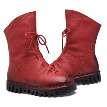 New Fashion Leather Women Boots Winter Shoes Casual Moccasins Women Boots Flat Shoes Handmade Shoes Woman Boots Mid