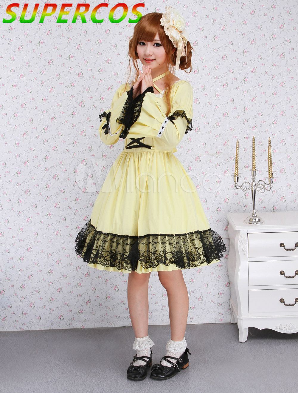 Free Shipping Arrivals High Quality Cotton Yellow Lace Gothic Lolita Dress-in Dresses