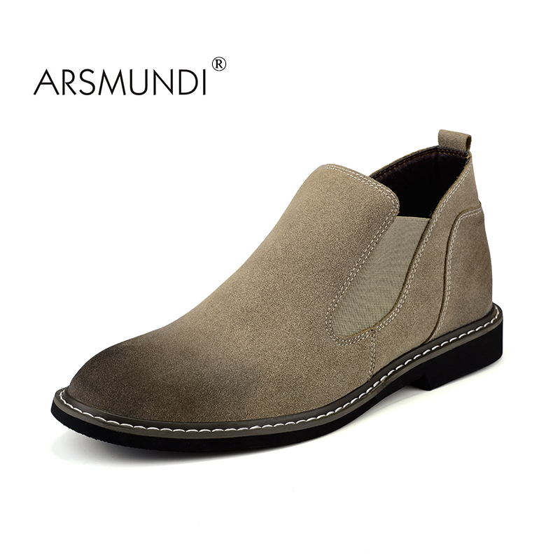 ARSMUNDI British Style Vintage Men Boots Crazy Genuine Leather Martin Men Autumn Boots Water Proof Work Hiking Winter Ankle Boot british style vintage men ankle boots genuine leather male tooling boots riding equestrian lace up autumn winter 2 5