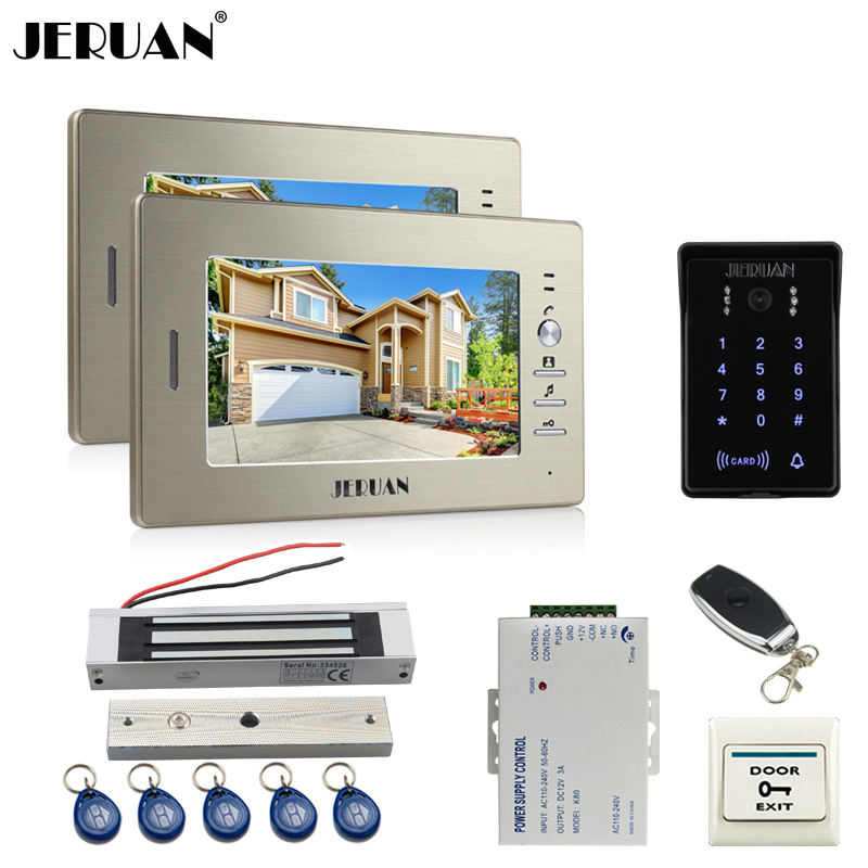 JERUAN New 7`` LCD video doorphone intercom system 2 monitor RFID waterproof Touch Key password keypad camera+remote control jeruan wired 7 touch key video doorphone intercom system kit waterproof touch key password keypad camera 180kg magnetic lock