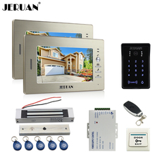 "JERUAN New 7"" LCD video doorphone intercom system 2 monitor RFID waterproof Touch Key password keypad camera+remote control"