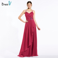 Dressv Red Long Bridesmaid Dress Spaghetti Straps Sleeveless A Line Appliques Pleats Custom Wedding Party Dress