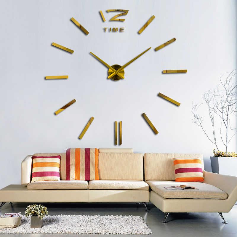 Anlaşılan lüks Dairesel ev dekorasyon Koridor duvar çıkartmaları ayna etkisi Modern stil diy kuvars duvar saati natürmort