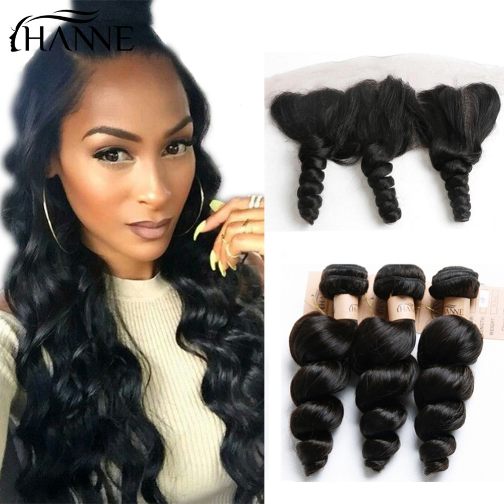 HANNE Hair Indian Loose Wave 3 Bundles Virgin Human Hair Extensions with Lace Frontal 13x4 Ear to Ear Lace Frontal Closure 1B#