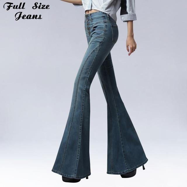 37c161f877f0d 2018 Vintage Skinny Jeans Flare Unique Poitrine Hanche Slim Fit Pantalon  large Jambe Grosse Cloche Jeans
