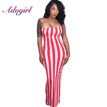 Striped Red Strapless Sexy Maxi Dress Wome Vertical Striped Bodycon Pencil Dress Off Shoulder Sleeveless Beach Robes vertical striped patchwork expansion maxi dress
