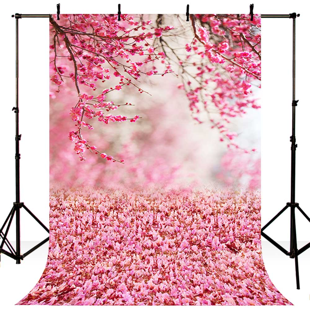 MEHOFOTO Polyester Seamless Photography Backdrop Pink Flower Children Photo Background for Photo Booth Studio S 982