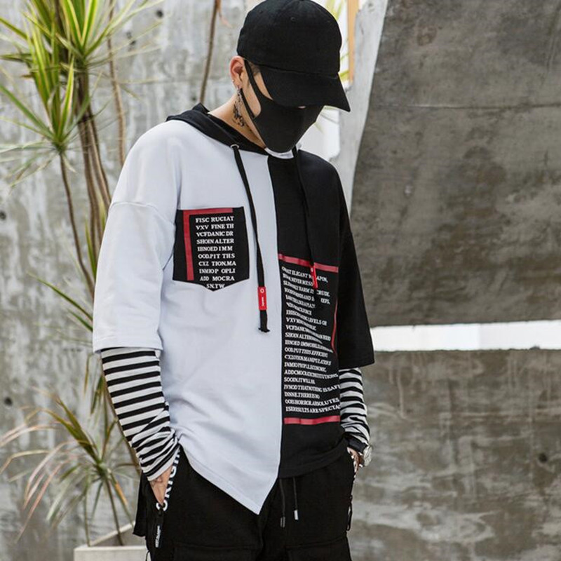 Men asymmetrical design patchwork hip hop hoodie fake two piece men oversize street style punk hiphop sweatshirts moletom hoodie