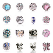 AIFEILI New Fashion Perles Jewelry Silver Color Cute Mickey Minnie Bijoux Beads Fit Diy Pandora Charms Bracelet Wholesale gift