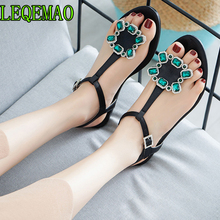 8bbc39608 Women T Strap Flat Ankle Buckle Thong Sandals Female Gladiator Flip Flops  Summer Beach Casual Fashion