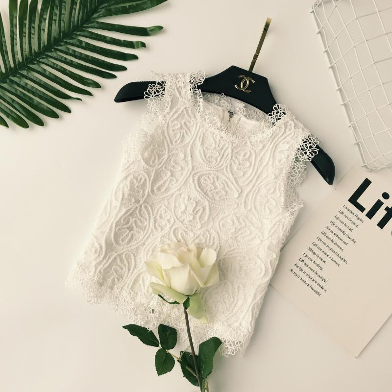 Women's White lace   Tank     Tops   zipper shirts 2018 O Collar Camis Sleeveless brand   tops   Clothing Female Girls Shirts chic Blusa