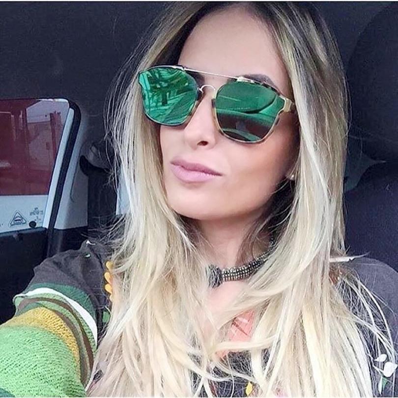high quality blue mirrored lens fashion leopard women sunglasses brand designer