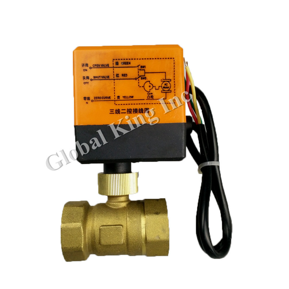 1 DN25 220V Electric Ball Valve, Brass Motorized Ball Valve,CR 02 Wires