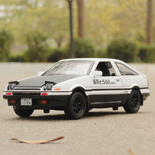 New INITIAL D Toyota AE86 1:28 Alloy Car Model Anime Cartoon Fast Furious With Pull Back Sound Light For Boy Toys Gift