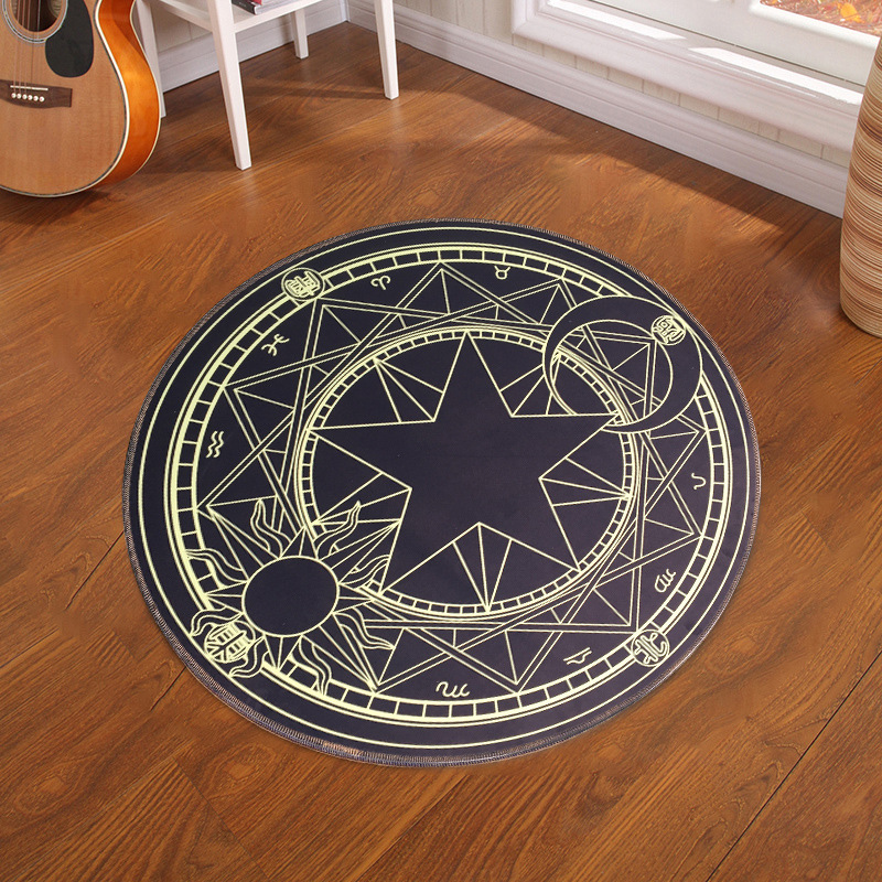 Pentacle Magic Array Round Carpet Living Room Pringting Mats Children Cartoon Star Rugs Circular