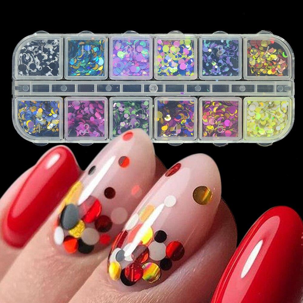 1 компл. смешанные Цвет 3D ультратонкие пайетки блеск ногтей хлопья 1/2/3 мм блестящие DIY Советы ослепительно блестка ногтей Книги по искусству украшения ГТО