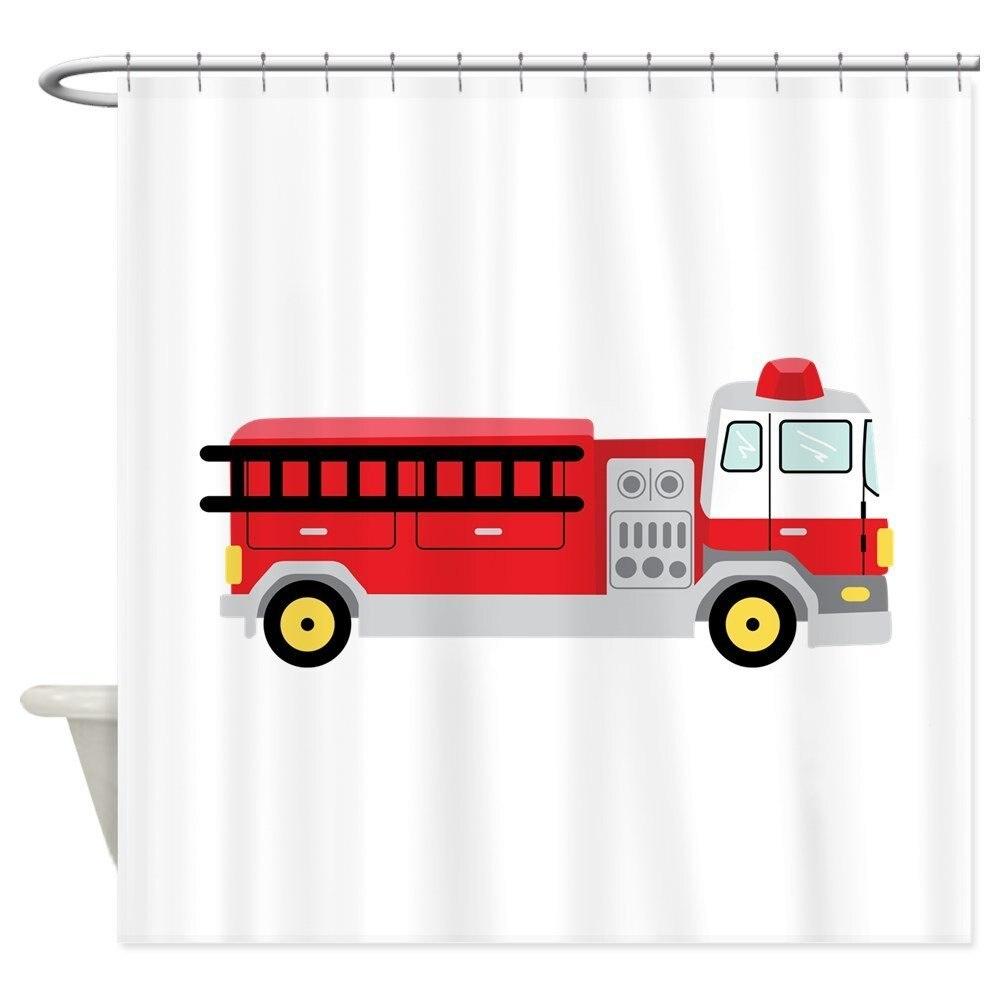 Fire Truck Shower Curtain Decorative Fabric Shower Curtain Set Non-Slip Bathroom Mats Home Room Doormat