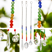 H&D 63/38/20mm Chakra Crystal Ball Chandelier Prisms Pendants Parts 3pcs/set Suncatcher Rainbow Maker Hanging Drop Home Ornament 4