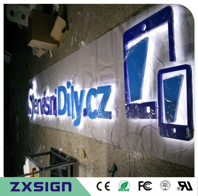 Factory Outlet 304# Stainless Steel LED Back Lit 3D Letter Sign Logo For Outdoor Advetising In Powdered And Painted In Colors