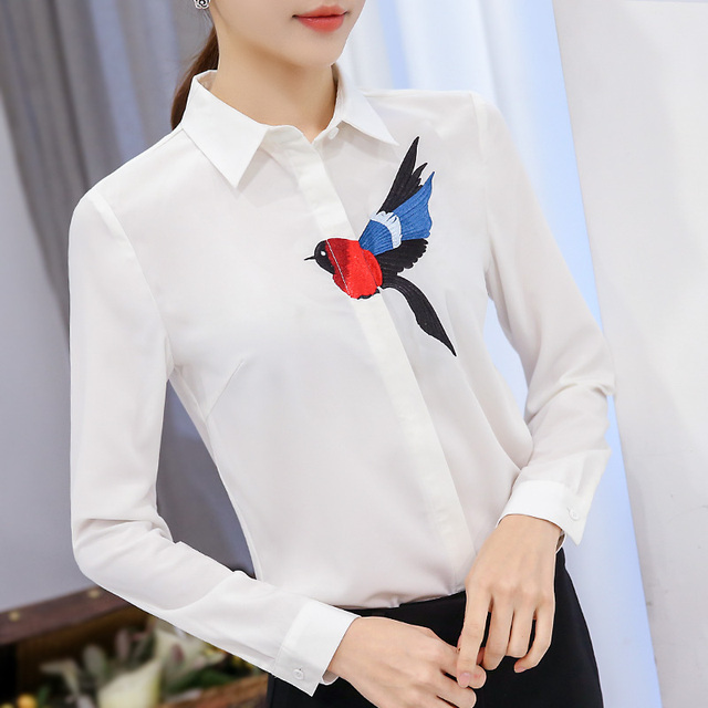 New 2017 White Blouse Women Design Bird Flying Embroidery Chiffon Shirt OL Career Blouse Tops Long Sleeve Plus Size S-XXL T61226