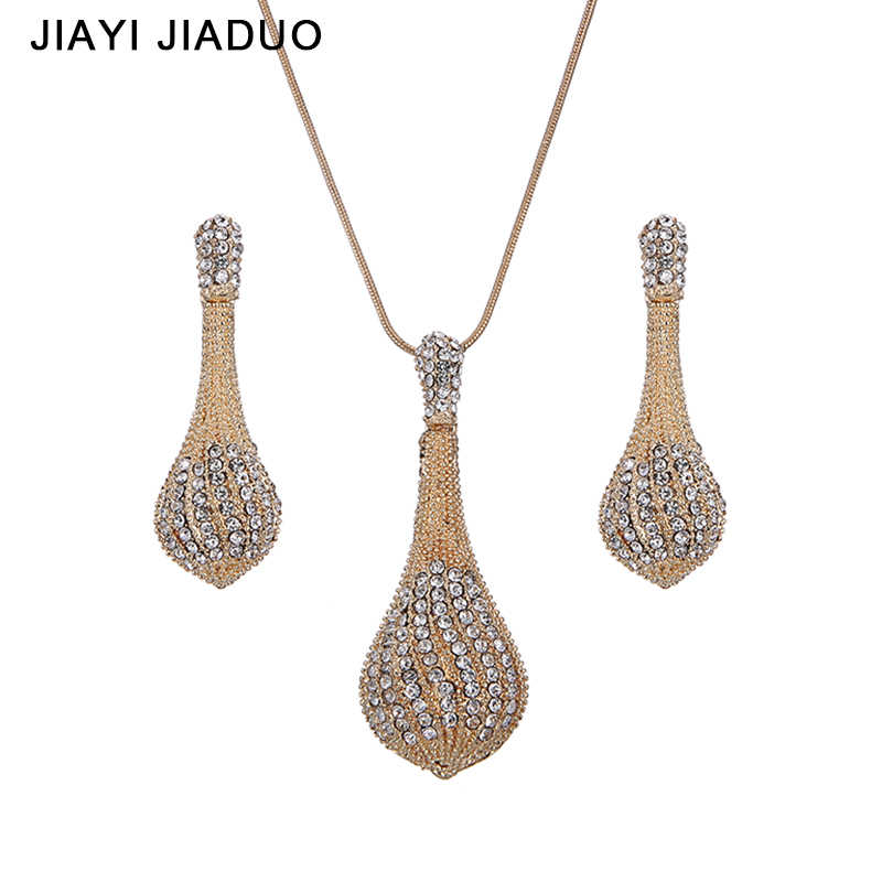 jiayijiaduo Classic Wedding Women Jewelry Gold Color Necklace Earrings Sets Rhinestone Pendant For Party Costume Accessories