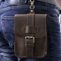 Crazy Horse Cowhide Genuine Leather Waist Bag Men Hip Bum Mobile Cell Phone Case Belt Purse Pouch Male Vintage Hook Fanny Pack
