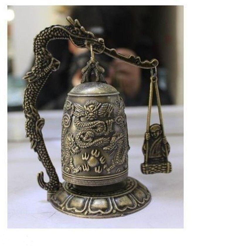 Bronze Brass Buddhism Dragon Ball Temple Shelf Sculpture Vintage Silver  tools wedding Decoration
