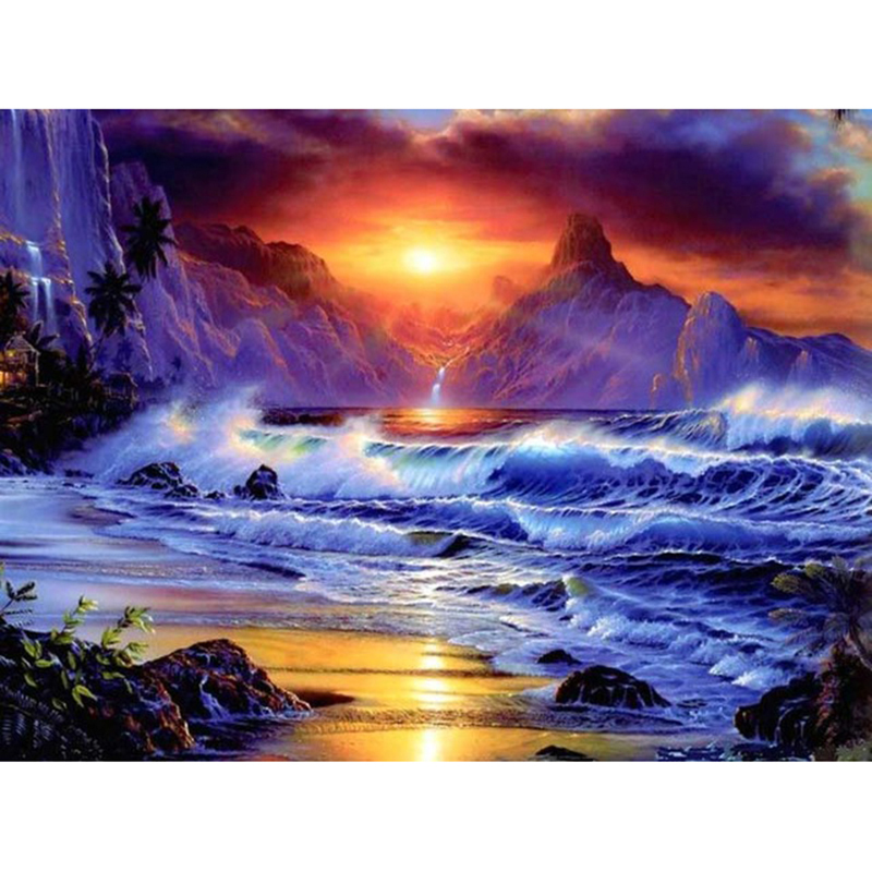 5D DIY Painting Beautiful Sea View Embroidery Cross Stitch Full Square Diamond Rhinestone Mosaic Landscape Picture Decoration in Diamond Painting Cross Stitch from Home Garden