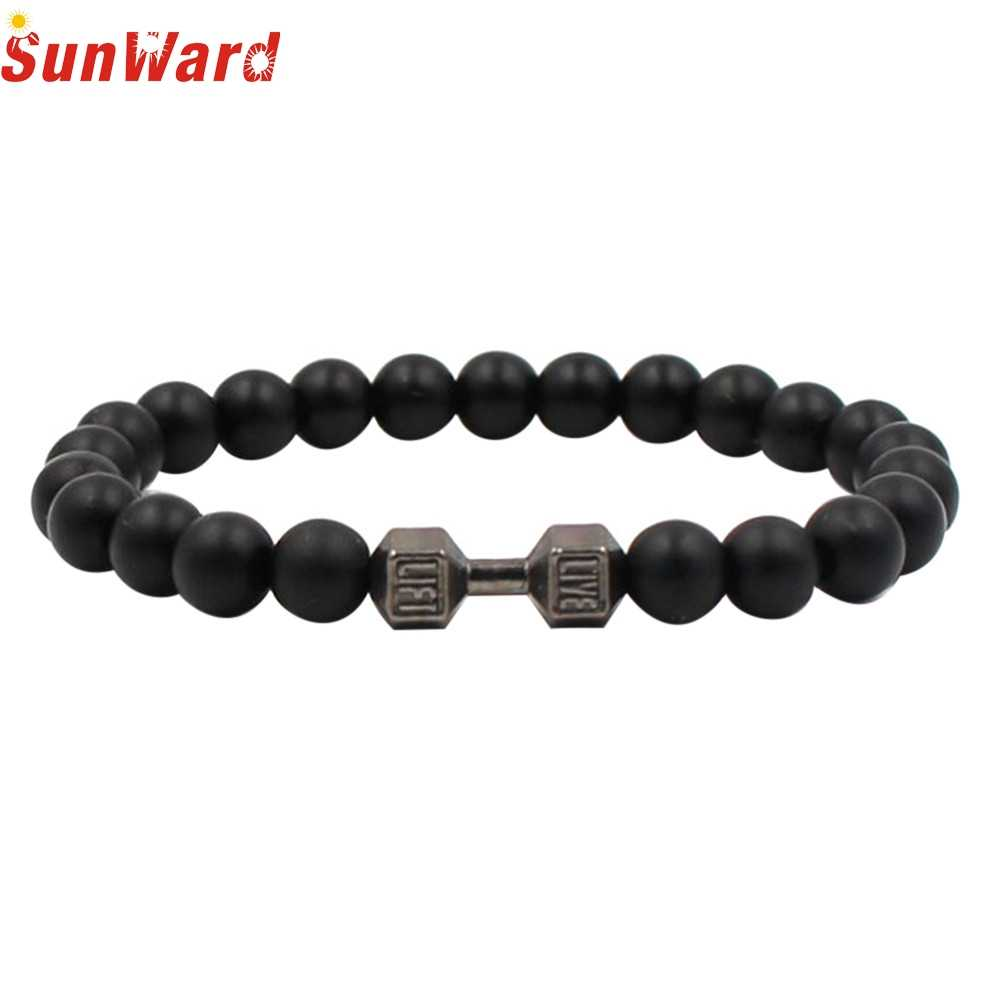 OTOKY Hot Sale 2018 1PC Fashion Natural Stone Dumbbell Bracelet  Handmade Jewelry For Gift Drop Shipping Mar21