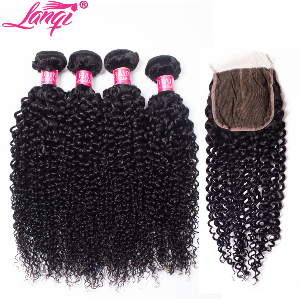 Brazilian kinky curly hair with closure curly human hair 4 bundles with closure lanqi remy human