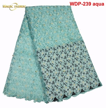 High quality water soluble african cord lace guipure lace fabric with stones for dress sewing WDP-239
