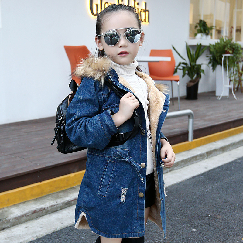 Zoe Saldana Girl's Coat 2017 New Fashion Girl Winter Long Warm Denim Woolen Coats Children Casual Solid Thick Hooded Parkas zoe saldana girl s coat 2017 new fashion winter solid hooded long white duck down casual kids warm detachable fur collar coats