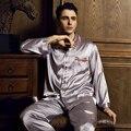 2017 весной Европа и соединенные Штаты ветер высокого класса мужские шелковые пижамы шелка мужская одежда домой с длинными рукавами пижамы