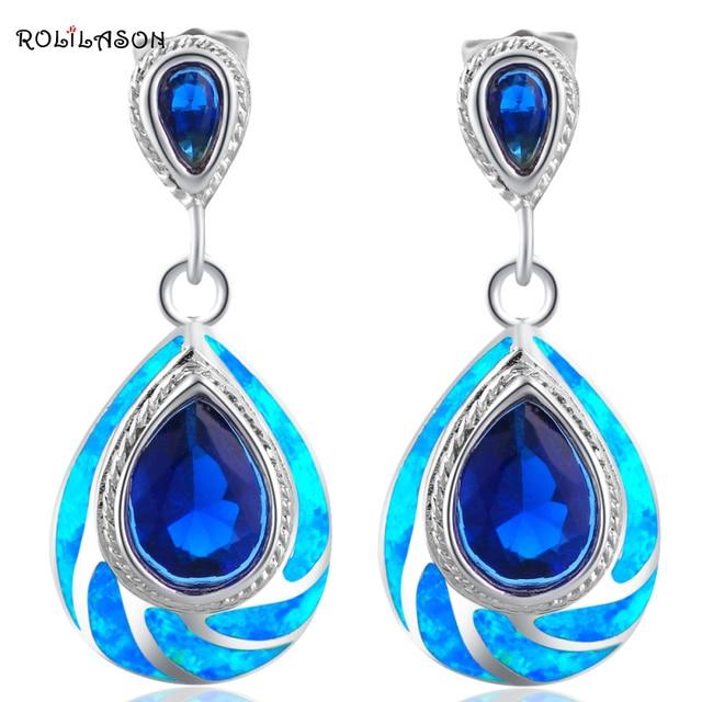 Rolilason Clic Blue Fire Opal 925 Silver Australia Zirconia Dangle Earrings For Women Fashion Jewelry