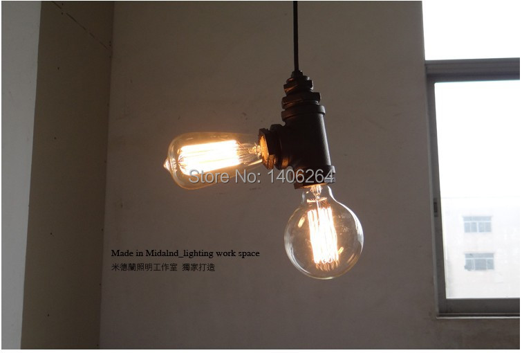 LOFT Industrial Edison Wrought iron water pipe double-end droplight Ceiling Lamp For Cafe Bar Hall Club Store Restaurant Balcony american edison loft industrial vintage edison grid loft ceiling lamp droplight cafe bar club balcony e27 black white iron cage