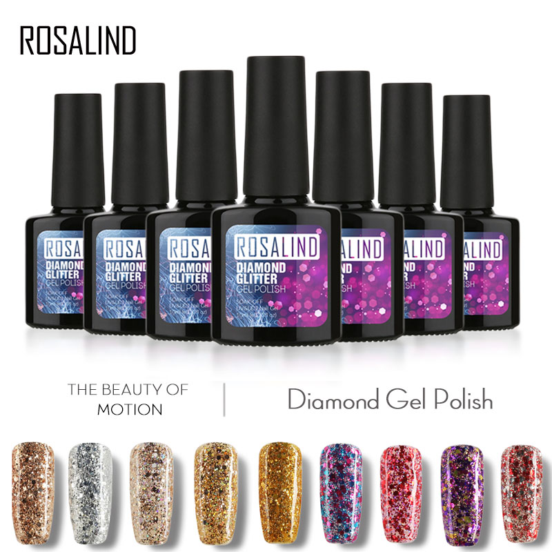 ROSALIND Gel 1S Gel Lacquer Diamond Glitter Semi-permanent  Shine Gel Varnish Nail Art Soak Off UV Gel Nail Polish