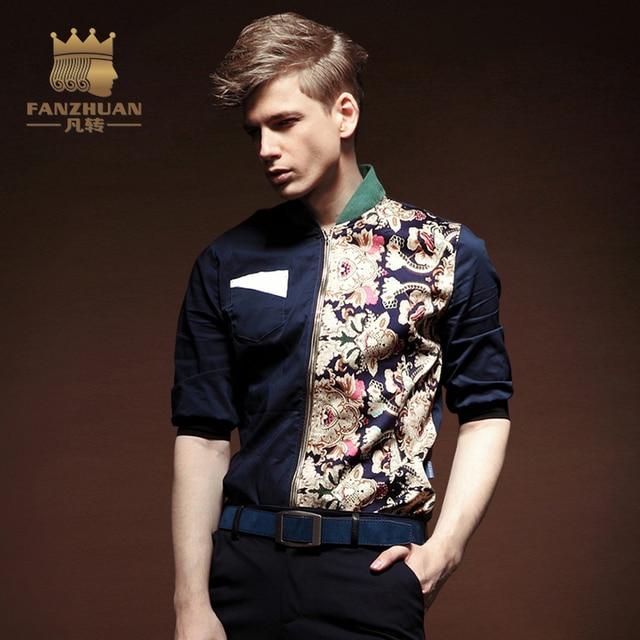 FANZHUAN Men Casual Shirts Cardigan Short Sleeve Slim Fit Shirts ...