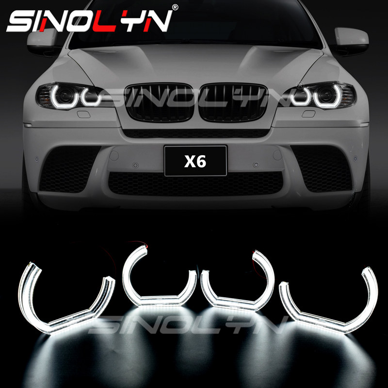 Sinolyn DTM Angel Eyes LED For BMW X6 E71 E72 X6M 2008-2014 Xenon Headlight DRL Halo M4 Style Turn Signal Light Kit Accessories
