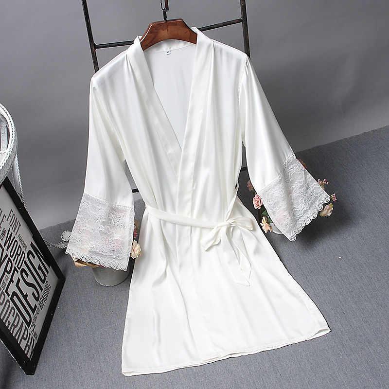 Búp Bê Cô Dâu Mặc Áo Choàng Satin Áo Dây Cô Dâu Thanh Lịch Đồ Ngủ Gợi Cảm Nữ Áo Đầm Xếp Ly Áo Choàng Kimono Tắm Lụa Áo Choàng Ngủ Phòng Chờ
