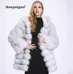 2018 осенне-зимнее пальто из лисьего меха, свободный толстый теплый искусственный жилет, меховой жилет средней длины, черные женские куртки, б...