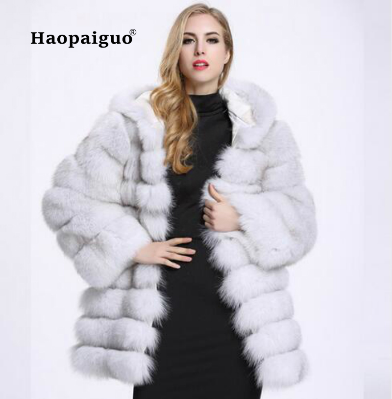 2018 Autumn Winter Fox Fur Coat Loose Thick Warm Faux Vest Fur Vest In Middle Long Black Women Jackets Large XXXL Size Plus