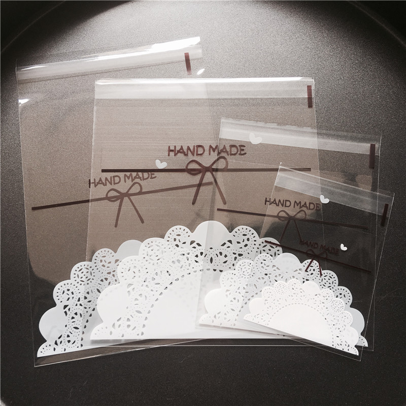 100pcs/lot 4 Sizes Transparent Bow Lace Plastic Self Adhesive Cookie Packaging Bag Wedding Candy Gift Decoration Bag