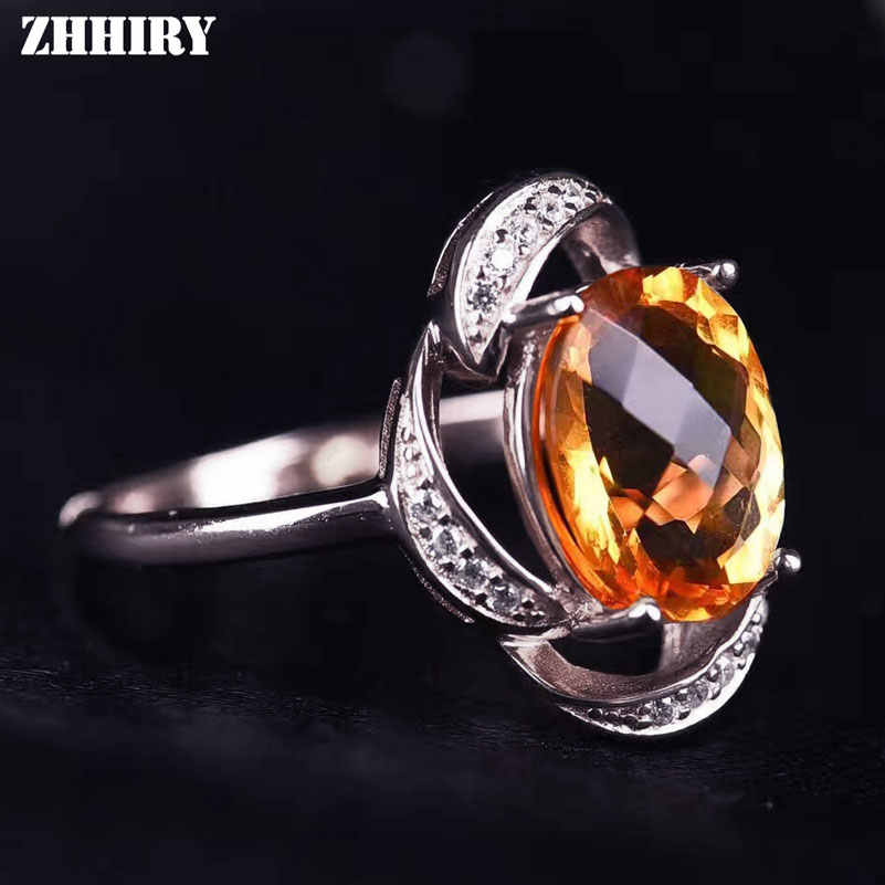 ZHHIRY ธรรมชาติ Citrine 925 แหวนเงินสเตอร์ลิงแท้อัญมณีเครื่องประดับแหวนหิน 8*10 มม.