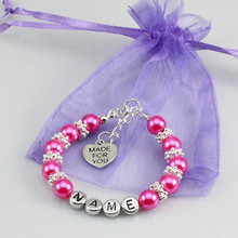 New name Personalised Girl baby Birthday Christmas Gift Charm name Bracelet with bag-rose red