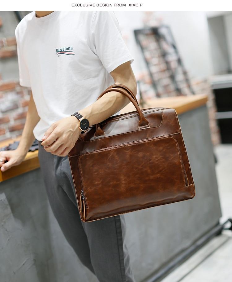 HTB1keQ3oBUSMeJjy1zkq6yWmpXaE Brand Men's Briefcase Handbag Crazy Horse Pu Leather Messenger Travel Bag Business Men Tote Bags Man Casual Crossbody Briefcases