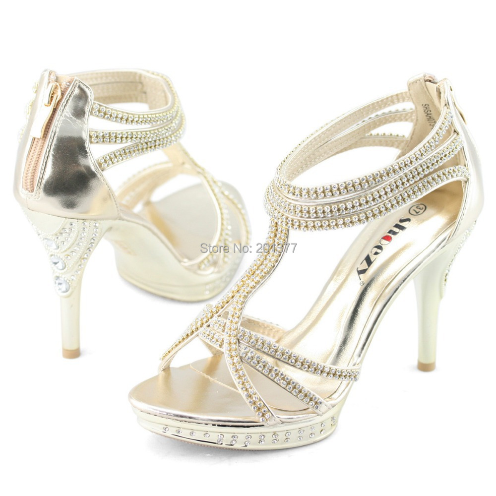 SHOEZY Brand ankle strap zip sandals gold silver crystal high ...