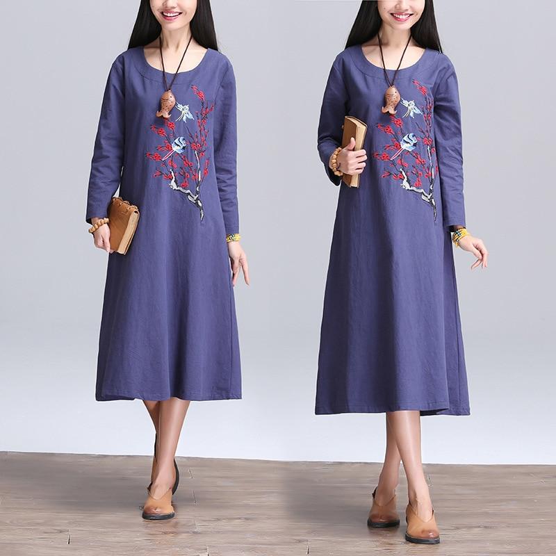 Long Maxi Dress Women Long Sleeve Summer Vintage Embroidery Dress