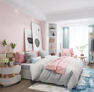 Image 3 - Màu hồng khiêu dâm bố trí phòng dán tường trang trí ký túc xá hình nền màu hồng tự dính phòng ngủ ấm cô gái dán hình nền